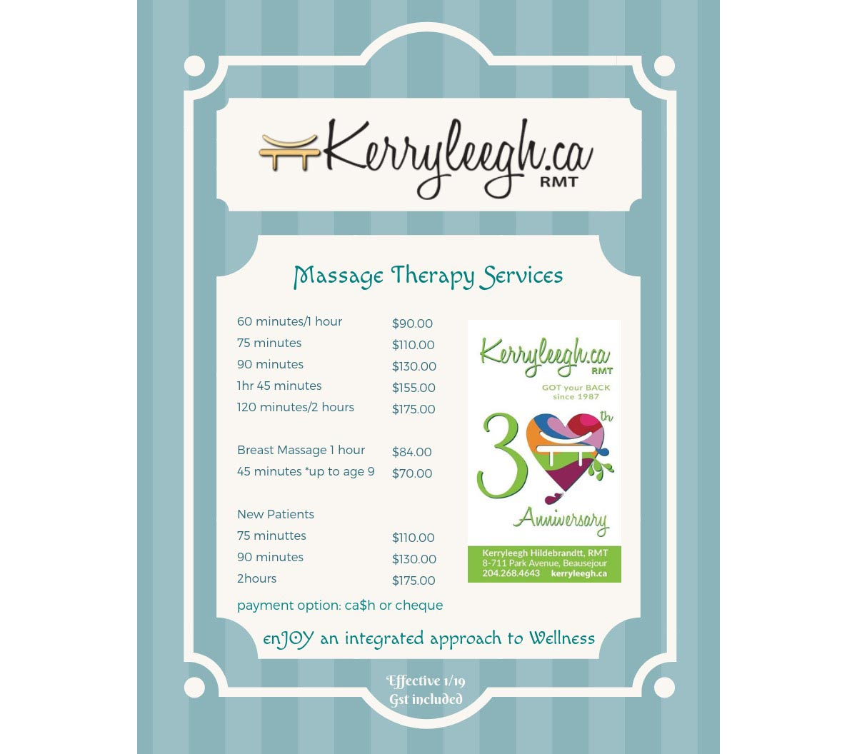 Kerryleegh Massage Therapy Fees 2019