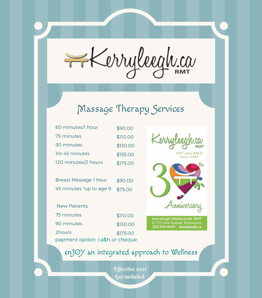 Massage Therapy Service fees 2021
